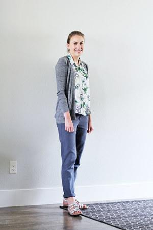 white Amour Vert shirt - gray madewell cardigan - blue Loft pants