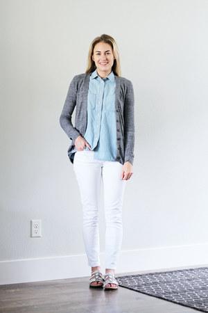 white Loft jeans - light blue madewell shirt - gray madewell cardigan