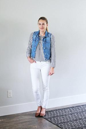 navy striped Loft top - white Loft jeans - blue madewell vest