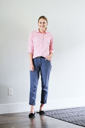 black Vince Camuto loafers - light pink gingham JCrew Factory shirt