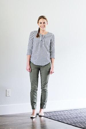 navy striped Loft top - olive green JCrew pants - gold JCrew flats