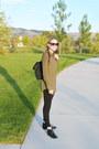Black-sam-edelman-boots-olive-green-target-shirt-black-kipling-bag