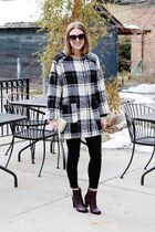 black plaid modcloth coat - brick red & other stories boots - beige Kipling bag
