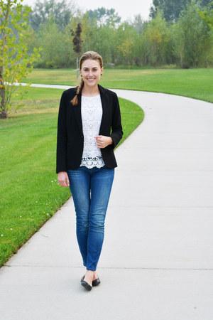 black olivia moon blazer - blue madewell jeans - white Target top