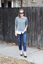 heather gray Gap sweater - navy Gap Factory jeans - white Uniqlo shirt