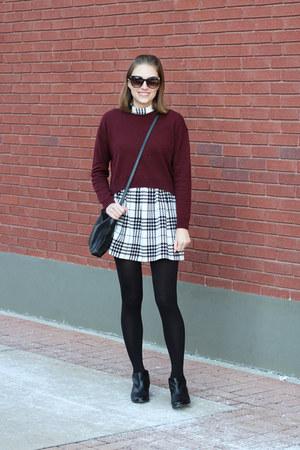 black sam edelman boots - black plaid Aqua dress - maroon everlane sweater