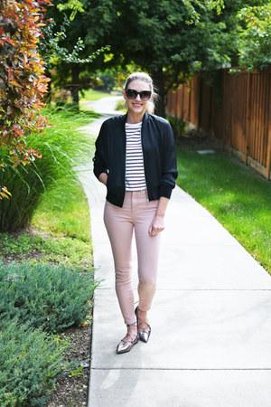 silver lace-up Halogen flats - light pink Grana jeans - black Grana jacket