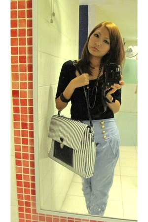 light blue - pants - navy Online Blogshop bag - black Online Blogshop blouse