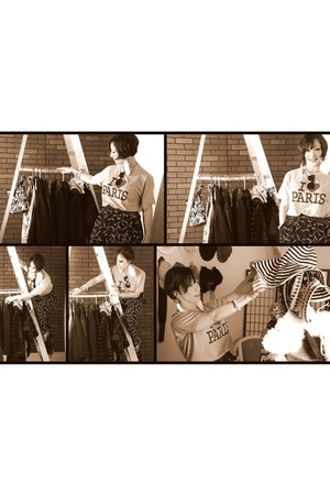 white feather H&M earrings - silver paris T-shirt Paris t-shirt - black leather