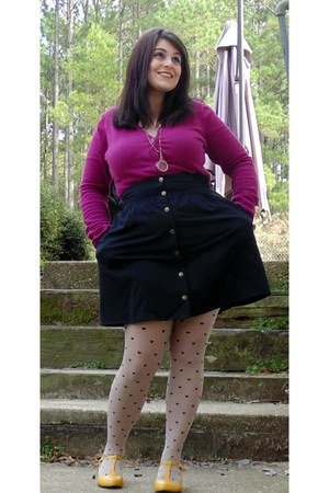 tights - purple cardigan - black button up skirt - yellow wedges