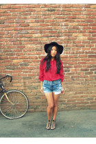 black floppy Deena & Ozzy hat - sky blue Thrifted Levis shorts - red sheer vinta
