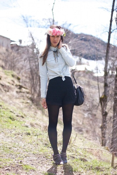 black studded Maje boots - pink flower crown DIY hat