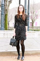 black leather Minelli shoes - black asos dress - black leather asos jacket