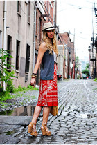 red skirt - charcoal gray vest - white top - camel sandals