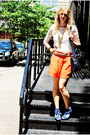 Cream-shirt-carrot-orange-asos-shorts-blue-wedges