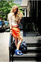 cream shirt - carrot orange asos shorts - blue wedges