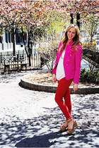 hot pink Zara blazer - red Zara pants - camel michael antonio sandals