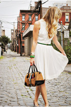 white vintage dress - chartreuse asos belt