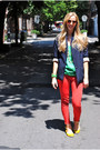 Navy-blazer-chartreuse-top-red-pants-yellow-flats
