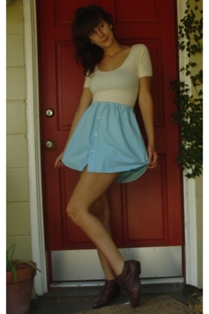 American Apparel shirt - handmade from mens shirt skirt - vintage shoes
