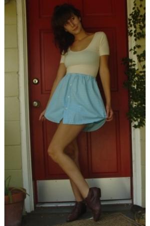 American Apparel shirt - handmade from mens shirt skirt - vintage shoes