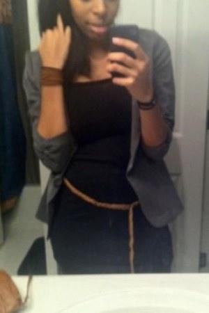 black dress - gray grey blazer Stoosh blazer - black black tights tights