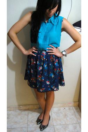 Forever 21 skirt - Forever 21 blouse - me too flats