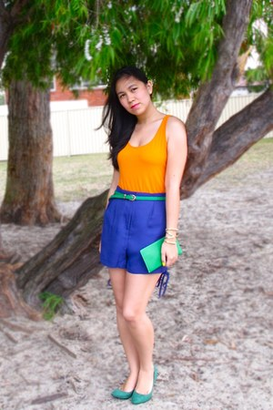 chartreuse Charles & Keith heels - blue H&M shorts - orange H&M top
