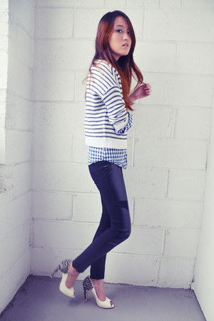 lorissa sam edelman pumps - striped H&M sweater - checkered Forever21 shirt