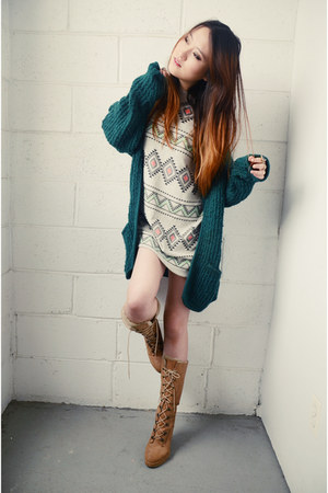 vintage cardigan - Forever21 boots - we are selecters dress