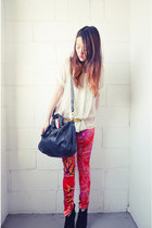Versace for H&M jeans - Marc by Marc Jacobs bag - H&M blouse