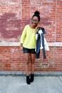 White-moto-jacket-yellow-sweater-black-croc-shorts