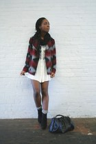 crimson moto Forever 21 coat - white babydoll mesh dress