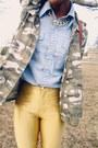 Light-blue-vintage-shirt-dark-khaki-camo-jacket-gold-disco-vintage-pants