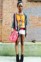 red bag - maroon diy ombre shorts - orange graphic Bershka t-shirt
