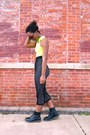 Yellow-neon-cropped-top-black-midi-motel-rocks-skirt