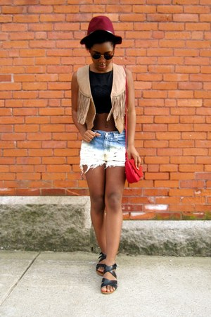ruby red bag - sky blue bleached ombre shorts - black lace cropped top