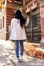 Blue-high-waisted-cheap-monday-jeans-beige-draped-cardigan-bb-dakota-jacket