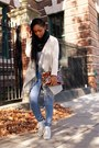 Blue-high-waisted-cheap-monday-jeans-beige-draped-cardigan-bb-dakota-jacket