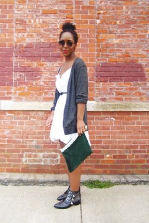 black boots - white linen dress
