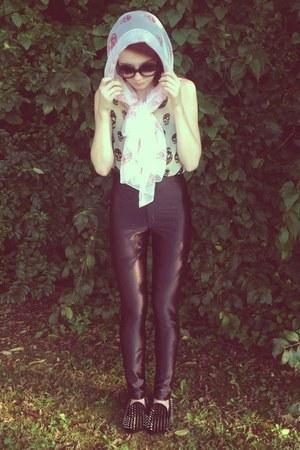 Alexander McQueen scarf - disco pants American Apparel pants