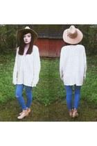 beige thrift sweater - beige chelsea Ebay boots - violet basic skinny jeans