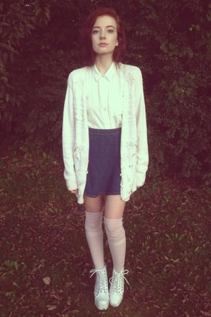 white BDG shirt - light pink k bell socks - navy American Apparel skirt