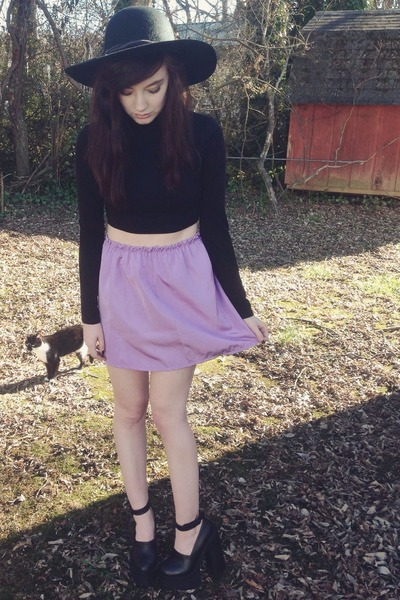 light purple vintage skirt - black scully Jeffrey Campbell heels