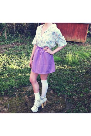 white thigh highs Forever 21 socks - white Jeffrey Campbell heels