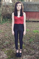 ruby red camisole top - black disco American Apparel pants