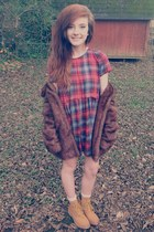 tan Forever 21 boots - ruby red plaid baby doll Forever 21 dress
