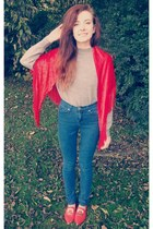 navy high waisted BDG jeans - silver thrift sweater - red thrift scarf