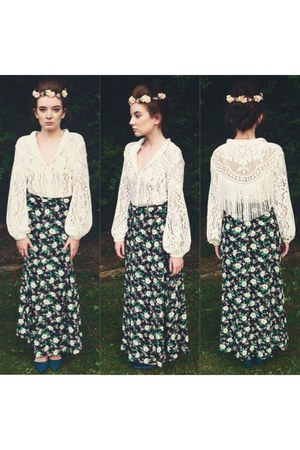 white top - forest green Ralph Lauren skirt - nude flower crown hair accessory