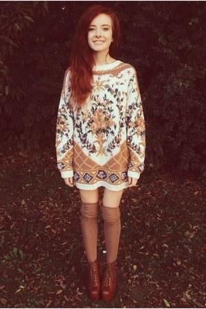 brown thrift sweater - brown thigh high k bell socks